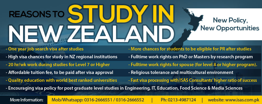 Study in New Zealabd for Pakistani students